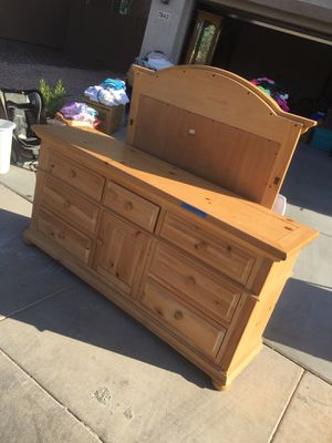 Large solid wood dresser w/mirror for Sale in Payson, AZ