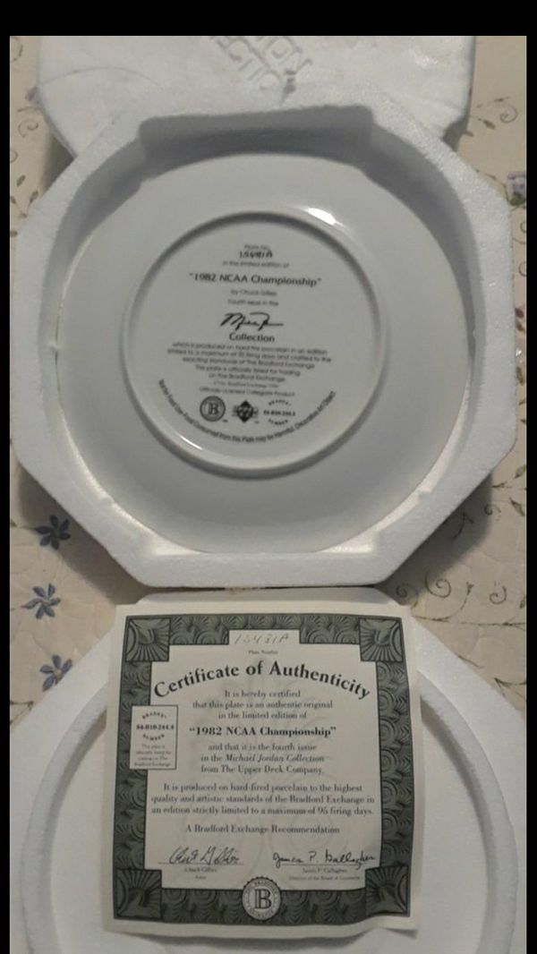 1982 NCAA CHAMPIONSHIP - Michael Jordan Collection Ceramic PLATE with certificate.