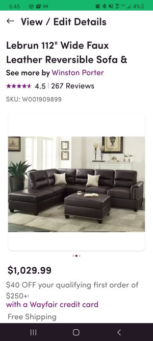 Lebrun Reversible sectional sofa with ottoman for Sale in Hubbard, OR