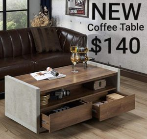 Industrial Open Shelf Coffee Table in Distressed Walnut for Sale in West Covina, CA