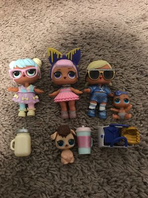 3 LOL surprise dolls, a baby, a dog, and accessories for Sale in Stanwood, WA