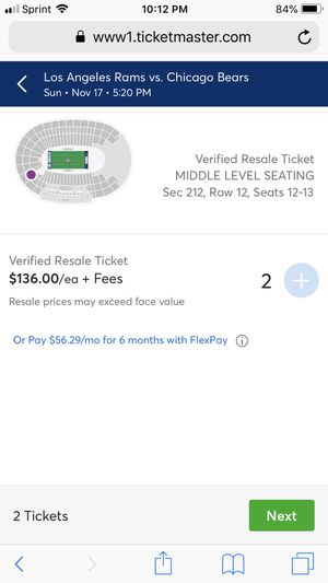 Rams Tickets. Rams vs Bears Nov 17. 520pm game. 130$ each face value 150$. I have four seats two more in front of these so all four for 510$. for Sale in Montebello, CA