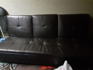 Leather futon with storage bin for Sale in St. Petersburg, FL