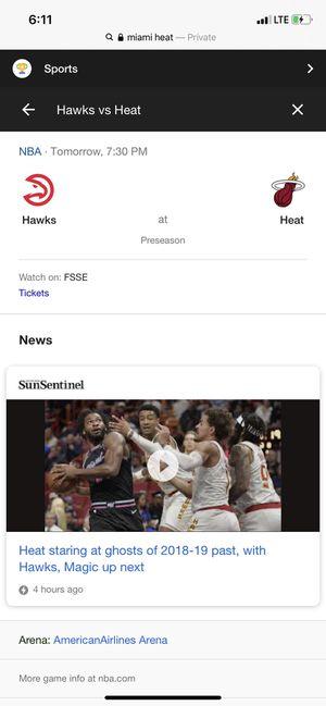 Miami Heat vs Atlanta Hawks (3) Tickets Lower Level for Sale in Coral Gables, FL