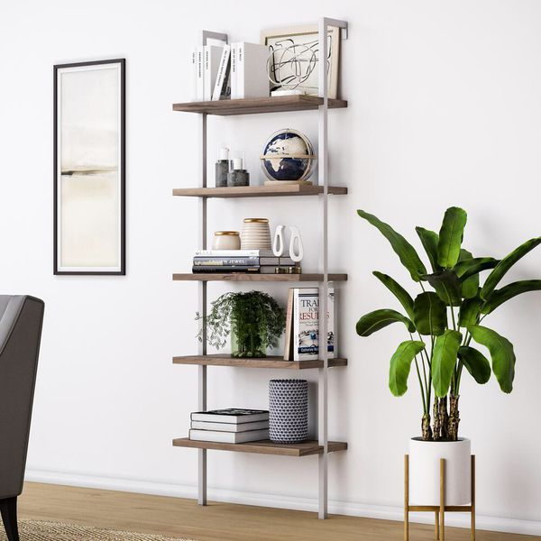 Nathan James Theo Rustic Oak 5-Shelf Ladder Bookcase with White Metal Frame new in box. 72h 24w 12d