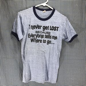 Vintage Early 80s Hanes Ringer I Never Get Lost T-Shirt Men's Medium for Sale in Anchorage, AK