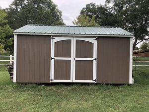 10 x 16 x 9 outdoor Leland shed about 4 years old no damage has some shelves inside no leaks. You will have to arrange for delivery I cannot deliver for Sale in Burleson, TX