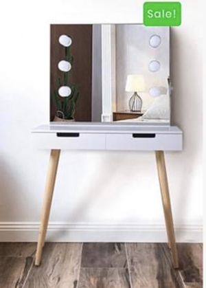 Vanity Table with Lighted Mirror, Makeup Vanity Dressing Table with Lights and Drawers for Women, Dresser Desk Vanity Set for Bedroom, White for Sale in Los Angeles, CA