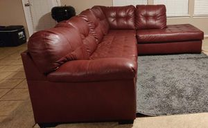 Red leather Sectional couch for Sale in Keller, TX