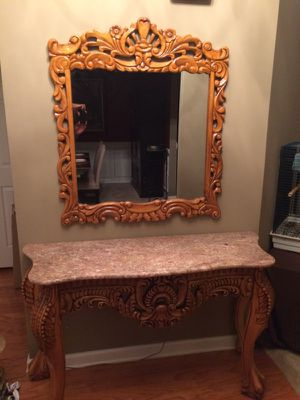 Antique marble entryway table w/ matching mirror for Sale in Alston, GA