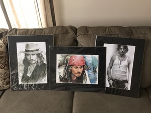 Johnny Depp Sketch Art Pirates Of The Caribbean for Sale in South Elgin, IL