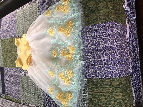 Little ladies gold and flower dress