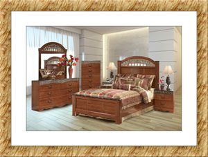 11pc Ashley Cherry bedroom set free mattress and delivery for Sale in Rockville, MD