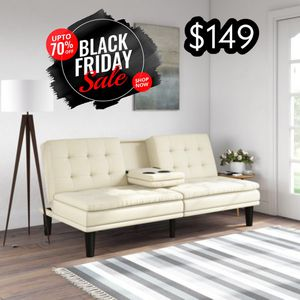 White futon with cupholders for Sale in Dallas, TX