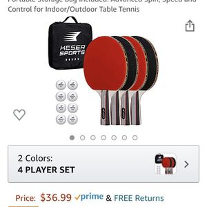 Keser Sports 5-Star Ping Pong Paddle Set 2-4 Player Racket Set Bundle with Professional ABS Balls and Portable Storage Bag Included. Advanced Spin, Sp for Sale in DeBary, FL