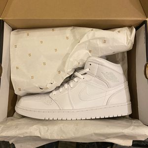 Brand new in box men's jordan 1 mid triple white size : 12 for Sale in Bothell, WA