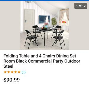 Folding Table and 4 Chairs Dining Set Room Black Commercial Party Outdoor Steel for Sale in Los Angeles, CA