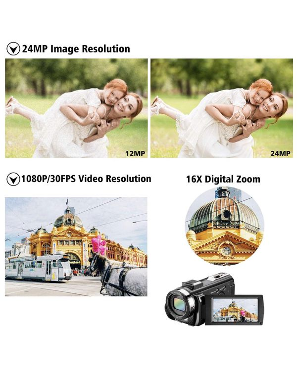 Video Camera Camcorder for YouTube, Aasonida Digital Vlogging Camera FHD 1080P 30FPS 24MP 16X Digital Zoom 3.0 Inch 270° Rotation Screen Video Record