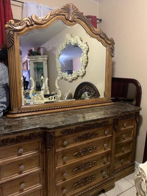 Dresser with mirrors marble and two night stand for Sale in Miami, FL