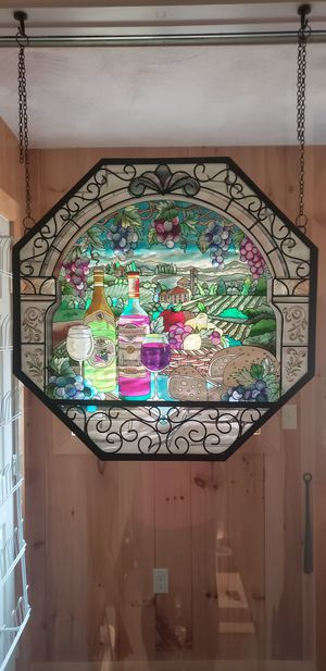 Winery Scene Custom Made Glass Window Hanging for Sale in Devens, MA