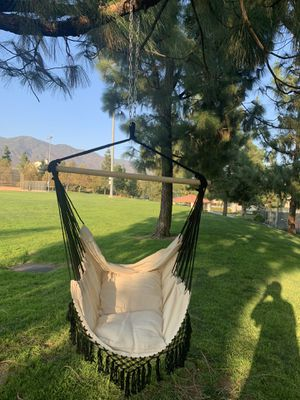 Hanging Hammock Chair Macrame Swing White for Indoor Bedroom Outdoor Patio Porch Deck Garden Yard Reading Leisure Lounging-Max Capacity 320 Lbs for Sale in Rancho Cucamonga, CA
