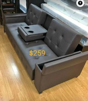 Leather sofa bed convertible sleeper couch futon with storage for Sale in Fontana, CA