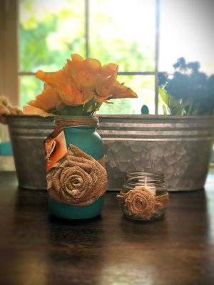 Mason jar home decor flower vase and candle holder for Sale in Haw River, NC