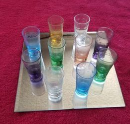 Antique Shot Glasses, Various Colors, Etched Pattern, Set of 10, Includes Display Mirror for Sale in Covina,  CA