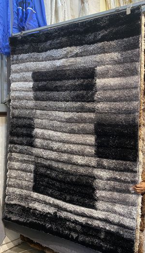 5x8 grey black shaggy rug 3 dimension shaggy carpet for Sale in Los Angeles, CA