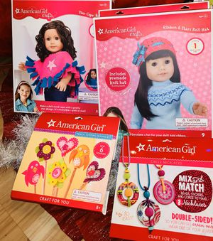 4 New American Girl Doll Crafts sets - pencil toppers, necklaces, poncho and hat for Sale in Gresham, OR
