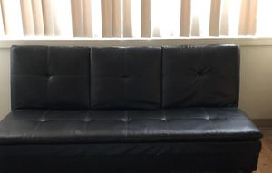 Gently Used Faux Leather Click-Clack Futon (Still available until removed!) for Sale in Baltimore, MD