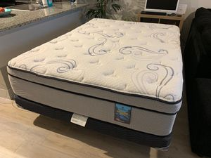 "14"" HIGH QUALITY CITY MATTRESS GLACIER BAY PILLOW TOP MATTRESS WITH BOX SPRING AND METAL FRAME for Sale in Boynton Beach, FL"