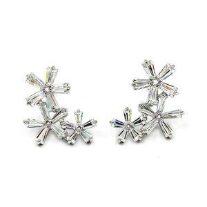 Simple silver flowers crystal earrings for Sale in Redwood City, CA