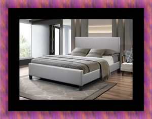 Grey platform bed with mattress for Sale in Fairfax, VA