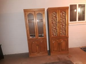 2 solid wood cabinets with glass shelfs for Sale in Phoenix, AZ