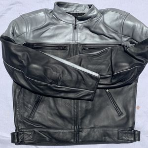 Motorcycle leather Jackets silver and Black for Sale in Royersford, PA