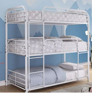 TWIN OVER TWIN 3-TIER BLACK METAL BUNK BED (WHITE) for Sale in Richgrove, CA