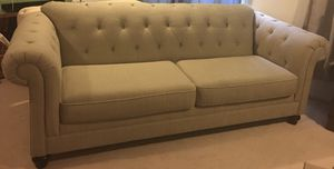 Tufted creams beige tan chesterfield couch for Sale in Alexandria, VA