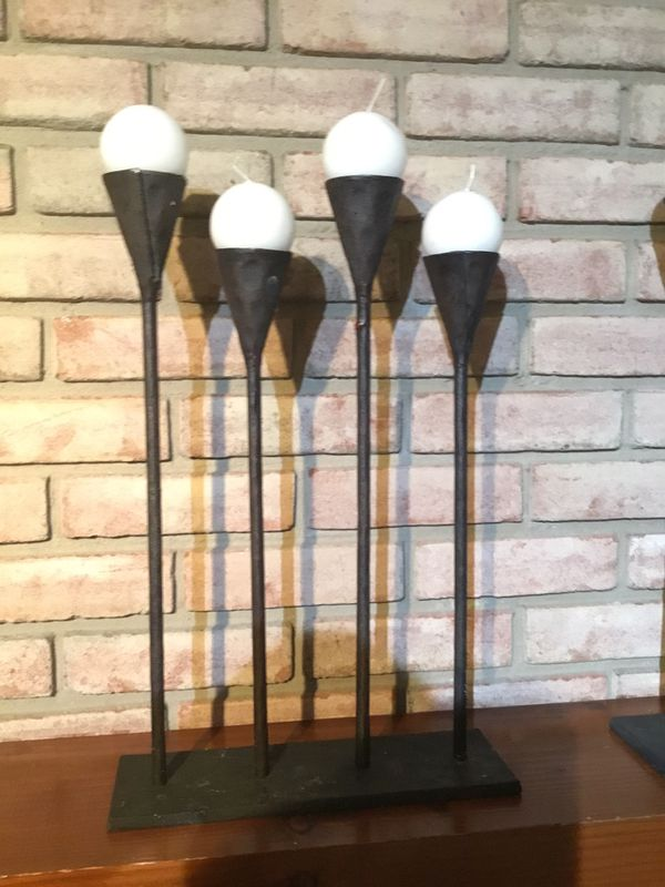 """Set of two wrought iron candle holders, standing 18"""" high by 12"""" wide"""