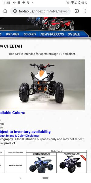 Cheatea 125cc. ATV wholesale prices to you only at turbopowersports for Sale in Riverside, CA