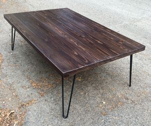 Post-apocalyptic modern coffee with hairpin legs or kitchen table your choice for Sale in Portland, OR