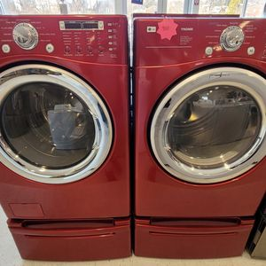 Lg Front Load Washer And Electric Dryer Set With Pedestal Used In Good Condition With 90day's Warranty for Sale in Washington, DC