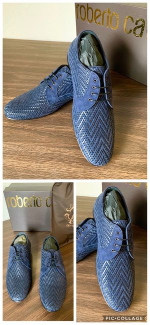 Roberto Cavalli Woven Leather Navy Blue Derby Shoes for Men size: (Europe:40 - us 7-7.5) for Sale in Flower Mound, TX