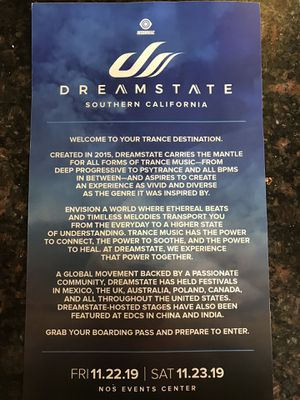 Dreamstate Rave Nos Event Center 2 day pass for Sale in Ontario, CA