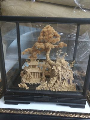 Japanese carved cork in glass box for Sale in West Palm Beach, FL