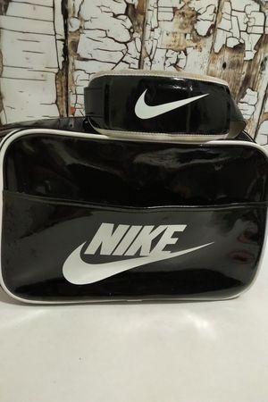 Vintage Nike Shoulder Bag Briefcase Messenger Laptop Bag Shiny Black & White for Sale in Denver, CO