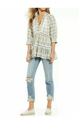 Free People Time Out Cotton 3/4 Sleeve Tunic Top Ivory Brown Co $128 Small for Sale in Clermont, FL