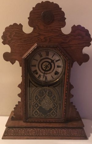 Antique E Ingraham Alarm Gingerbread Kitchen Deco Gong Clock with Key for Sale in Lexington, SC
