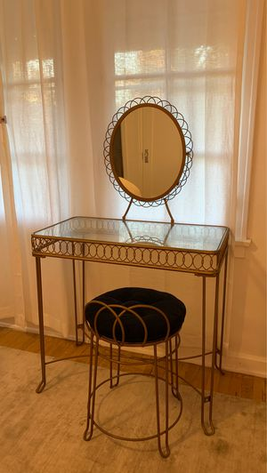 Gold vanity desk / glass vanity / small vanity table for Sale in West Hollywood, CA