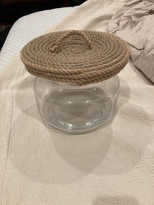 Glass jar with rope lid for Sale in Scottsdale, AZ